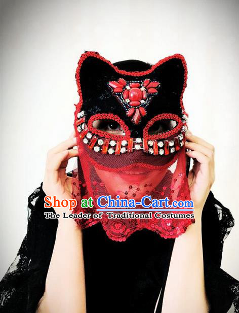 Top Grade Chinese Theatrical Headdress Ornamental Masquerade Beads Cat Mask, Brazilian Carnival Halloween Occasions Handmade Miami Red Lace Veil Mask for Women