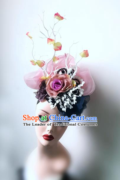 Top Grade Asian Headpiece Headdress Ornamental Silk Flowers Hair Accessories, Brazilian Carnival Halloween Occasions Handmade Miami Veil Headwear for Women