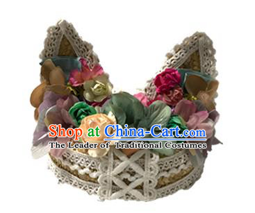 Top Grade Asian Headpiece Headdress Ornamental Cat Ears Flowers Hair Accessories, Brazilian Carnival Halloween Occasions Handmade Miami Lace Hat for Women