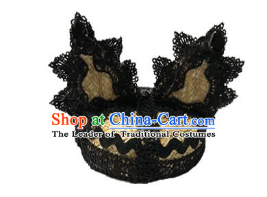 Top Grade Asian Headpiece Headdress Ornamental Cat Ears Hair Accessories, Brazilian Carnival Halloween Occasions Handmade Miami Black Lace Hat for Women