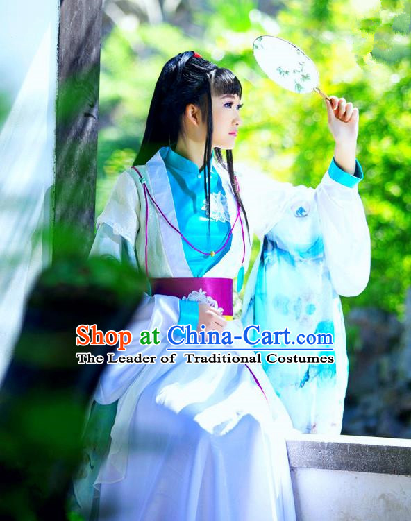 Traditional Ancient Chinese Young Lady Blue Costume, Chinese Han Dynasty Imperial Princess Fairy Dress Hanfu Clothing for Women