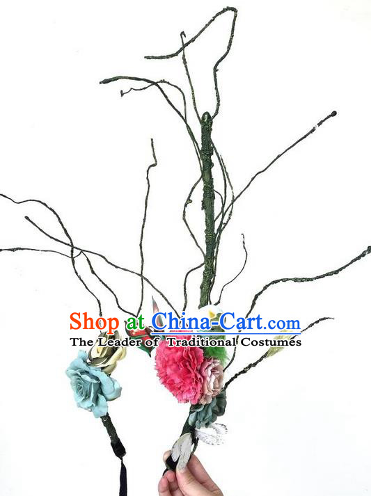 Top Grade Asian Headpiece Headdress Ornamental Branch Hair Accessories, Brazilian Carnival Halloween Occasions Handmade Miami Flowers Headwear for Women