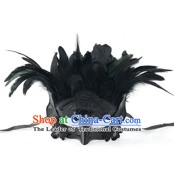 Top Grade Asian Headpiece Headdress Ornamental Black Feather Mask, Brazilian Carnival Halloween Occasions Handmade Miami Cosplay Lace Mask for Men