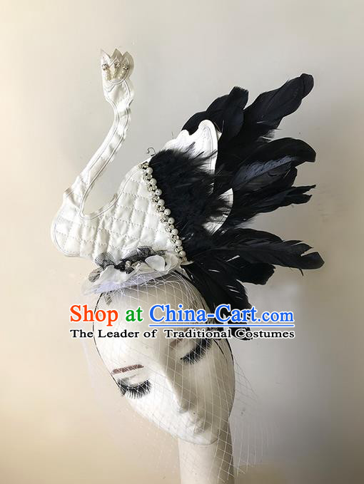 Top Grade Asian Headpiece Headdress Ornamental White Swan Headwear, Brazilian Carnival Halloween Occasions Handmade Miami Feather Hair Clasp for Women