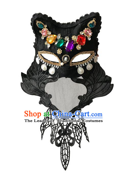 Top Grade Asian Headpiece Headdress Ornamental Crystal Mask, Brazilian Carnival Halloween Occasions Handmade Miami Black Mask for Women