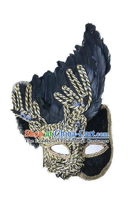 Top Grade Asian Headpiece Headdress Ornamental Mask, Brazilian Carnival Halloween Occasions Handmade Miami Black Feather Mask for Women