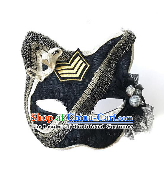 Top Grade Asian Headpiece Headdress Ornamental Cat Mask, Brazilian Carnival Halloween Occasions Handmade Miami Black Mask for Women