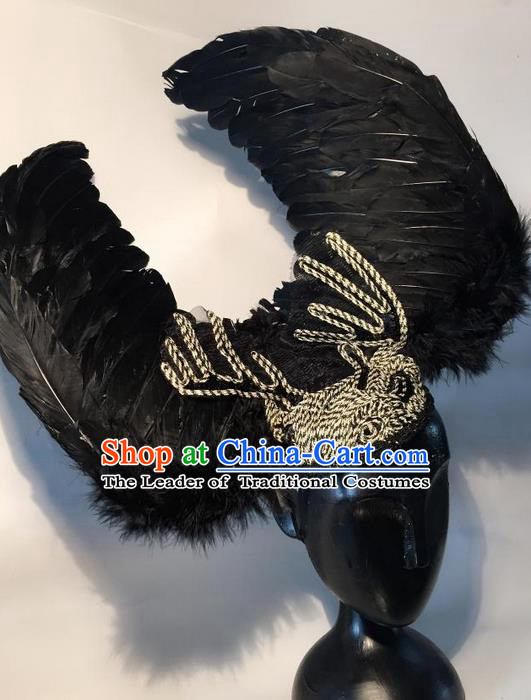 Top Grade Miami Deluxe Black Feather Hair Accessories, Halloween Brazilian Carnival Occasions Handmade Headwear for Women