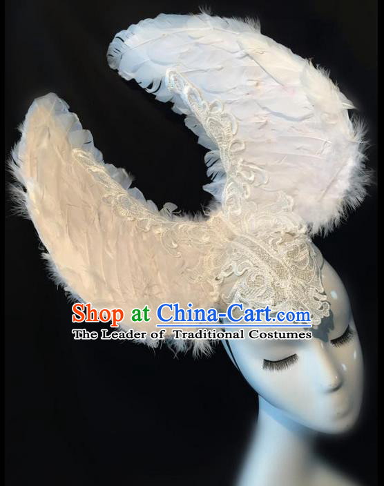 Top Grade Miami Deluxe White Feather Hair Accessories, Halloween Brazilian Carnival Occasions Handmade Headwear for Women
