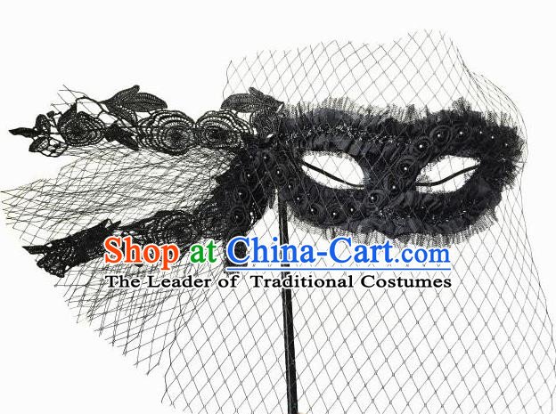 Top Grade Asian Headpiece Headdress Ornamental Lace Mask, Brazilian Carnival Halloween Occasions Handmade Miami Black Mask for Women