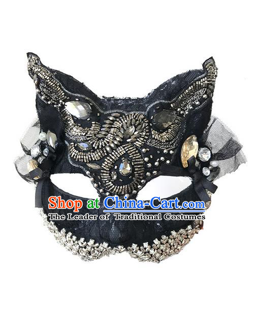 Top Grade Asian Headpiece Headdress Ornamental Cat Crystal Mask, Brazilian Carnival Halloween Occasions Handmade Miami Black Mask for Women