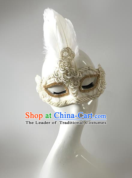 Top Grade Miami Deluxe White Feather Mask, Halloween Brazilian Carnival Occasions Model Show Handmade Face Mask for Men