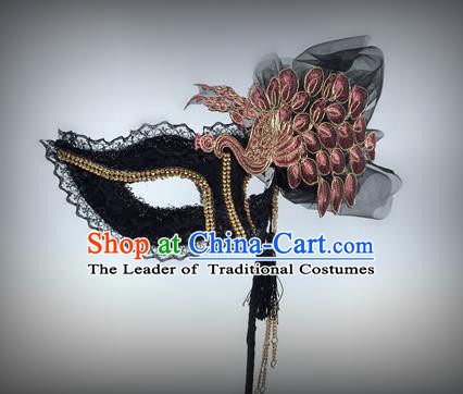 Top Grade Deluxe Baroque Headdress Accessories Peacock Black Mask, Halloween Brazilian Carnival Occasions Model Show Handmade Mask for Women