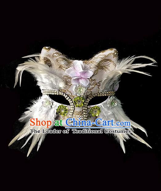 Top Grade Deluxe Baroque Headdress Crystal Cat Mask, Halloween Brazilian Carnival Occasions Model Show Handmade Feather Mask for Women