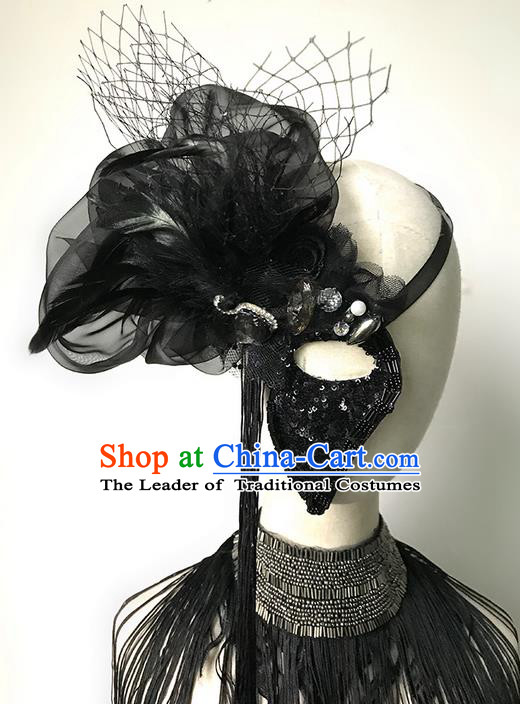 Top Grade Asian Headpiece Headdress Ornamental Black Half Mask, Brazilian Carnival Halloween Occasions Handmade Miami Vintage Lace Mask for Women
