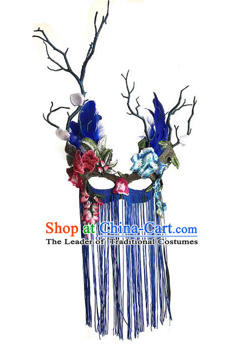 Top Grade Asian Headpiece Headdress Ornamental Embroidery Mask, Brazilian Carnival Halloween Occasions Handmade Miami Vintage Blue Tassel Mask for Women