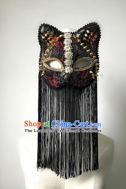 Top Grade Asian Headpiece Headdress Ornamental Cat Mask, Brazilian Carnival Halloween Occasions Handmade Miami Vintage Rivet Tassel Mask for Women