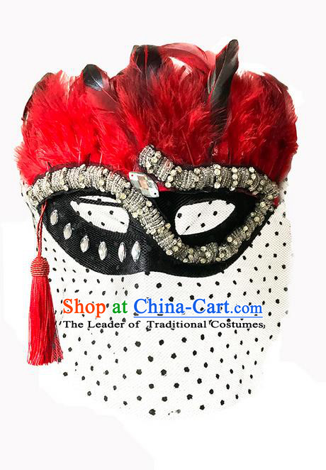 Top Grade Asian Headpiece Headdress Ornamental Cosplay Black Veil Crystal Mask, Brazilian Carnival Halloween Occasions Handmade Miami Red Feather Vintage Mask for Women