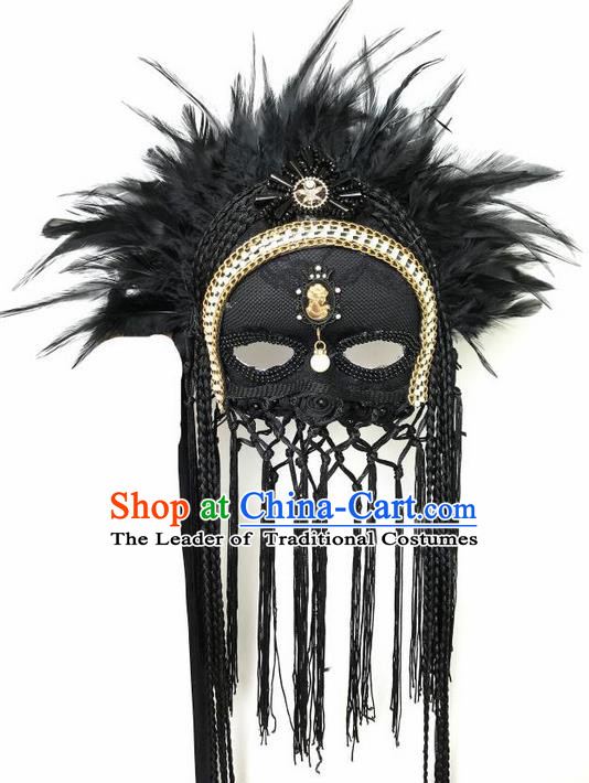 Top Grade Asian Headpiece Headdress Ornamental Cosplay Feather Mask, Brazilian Carnival Halloween Occasions Handmade Miami Vintage Black Tassel Mask for Women