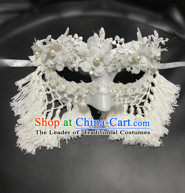 Top Grade Asian Headpiece Headdress Ornamental Cosplay Mask, Brazilian Carnival Halloween Occasions Handmade Miami Vintage White Tassel Mask for Women