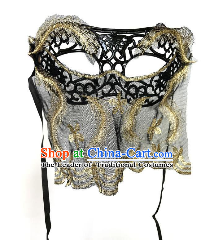 Top Grade Asian Headpiece Headdress Ornamental Cosplay Golden Embroidery Mask, Brazilian Carnival Halloween Occasions Handmade Miami Vintage Veil Mask for Women