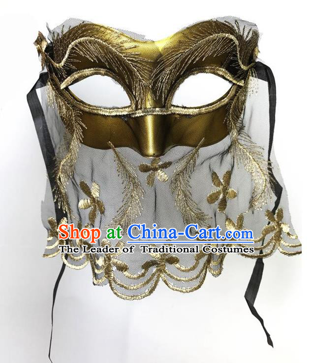 Top Grade Asian Headpiece Headdress Ornamental Cosplay Golden Mask, Brazilian Carnival Halloween Occasions Handmade Miami Vintage Mask for Women