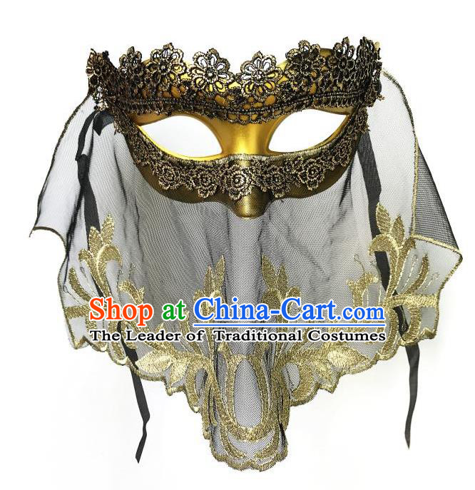 Top Grade Asian Headpiece Headdress Ornamental Cosplay Golden Mask, Brazilian Carnival Halloween Occasions Handmade Miami Vintage Lace Mask for Women