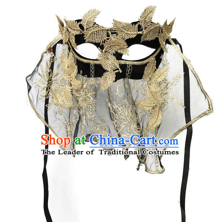 Top Grade Asian Headpiece Headdress Ornamental Cosplay Embroidery Golden Leaf Mask, Brazilian Carnival Halloween Occasions Handmade Miami Vintage Mask for Women