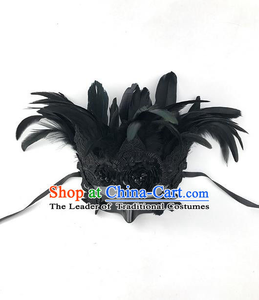 Top Grade Asian Headpiece Headdress Ornamental Black Feather Mask, Brazilian Carnival Halloween Occasions Handmade Miami Cosplay Mask for Men