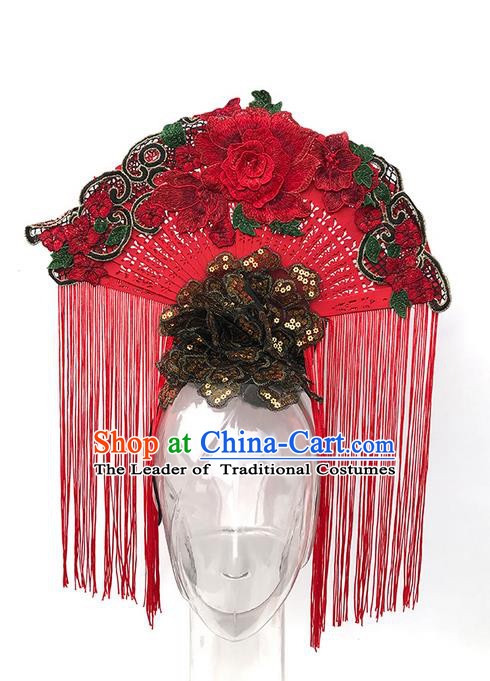 Top Grade Asian China Headpiece Ornamental Fan Hair Accessories, Traditional China Manchu Princess Flowers Floral Headdress Occasions Handmade Headwear for Women