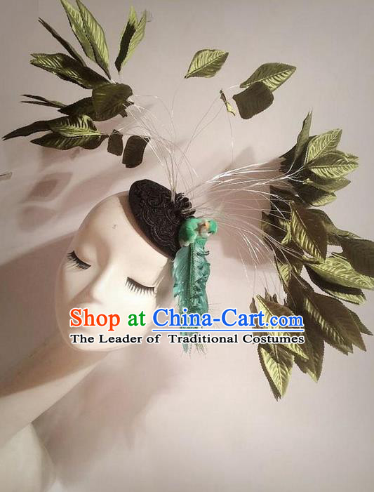 Top Grade Ornamental Leaf Hair Accessories, Halloween Princess Flowers Floral Headdress Occasions Handmade Headwear for Women