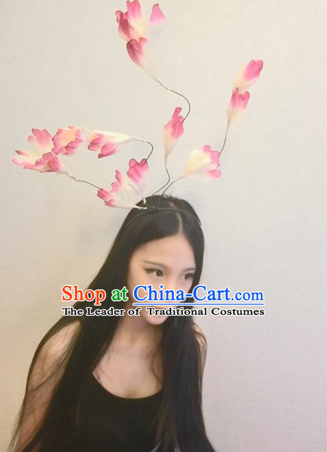 Top Grade Ornamental Leaf Hair Accessories, Halloween Princess Flowers Floral Headdress Occasions Handmade Hair Clasp for Women