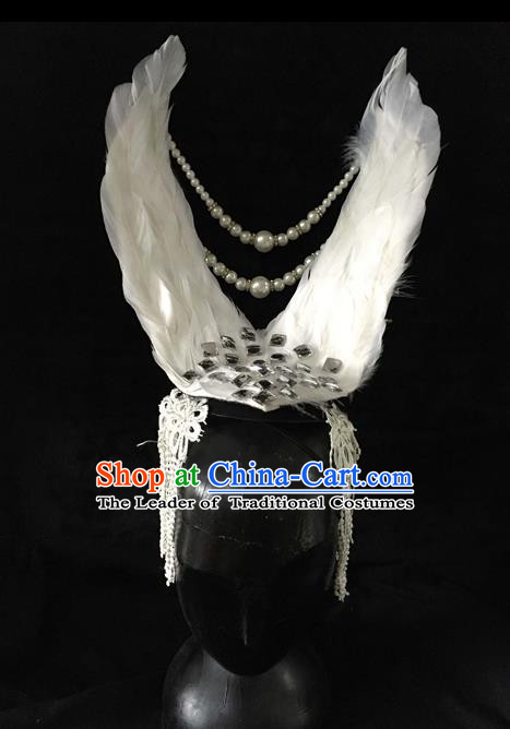 Top Grade Miami Feathers Deluxe Pearls Hair Accessories, Halloween White Feather Headdress Brazilian Carnival Occasions Handmade Headwear for Women