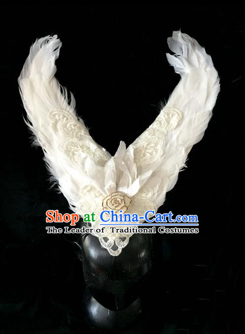 Top Grade Miami Feathers Deluxe Lace Hair Accessories, Halloween White Feather Headdress Brazilian Carnival Occasions Handmade Headwear for Women