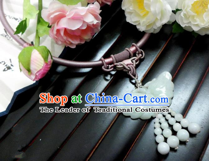 Top Grade Handmade Traditional China Handmade Jewelry Accessories Jade Necklace, Ancient Chinese Princess Conophytum Pucillum Collar for Women