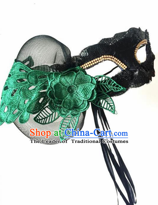 Top Grade Miami Deluxe Embroidery Lace Mask, Halloween White Feather Headdress Brazilian Carnival Occasions Handmade Green Face Mask for Women