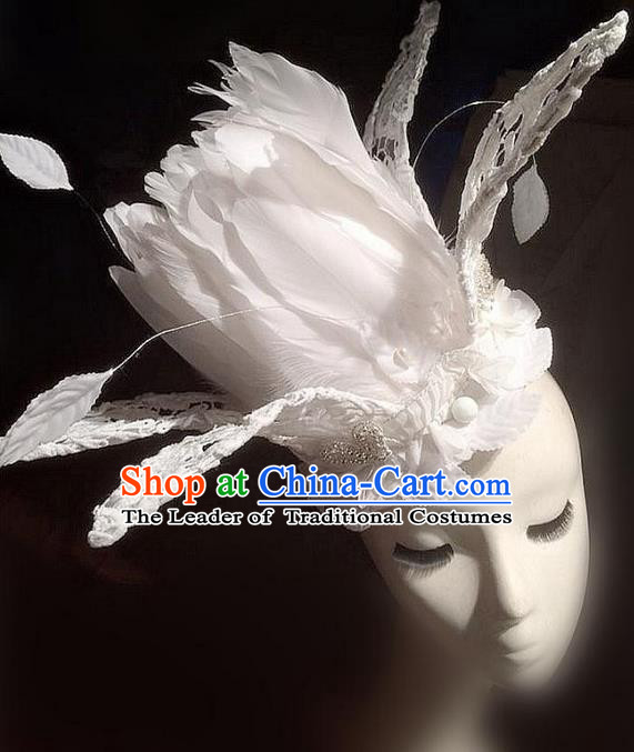 Top Grade Miami Deluxe White Feather Hair Accessories, Halloween Headdress Brazilian Carnival Occasions Handmade Feather Headwear Royal Crown for Women