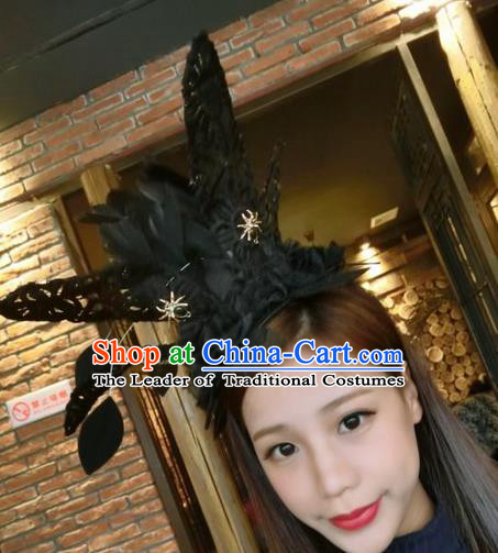 Top Grade Miami Deluxe Black Feather Hair Accessories, Halloween Headdress Brazilian Carnival Occasions Handmade Feather Headwear for Women