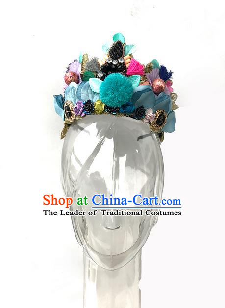 Top Grade Miami Deluxe Hair Accessories Flowers Royal Crown, Halloween Headdress Brazilian Carnival Occasions Handmade Headwear for Women