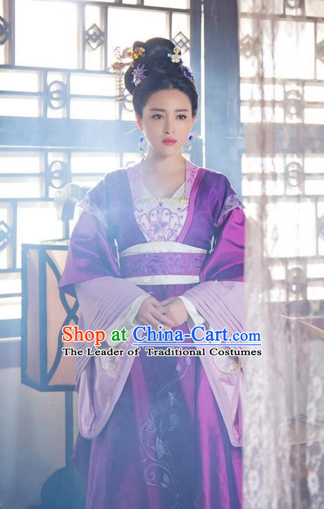Traditional Ancient Chinese Imperial Consort Costume and Handmade Headpiece Complete Set, China Song Dynasty Palace Lady Embroidered Elegant Dress Clothing for Women