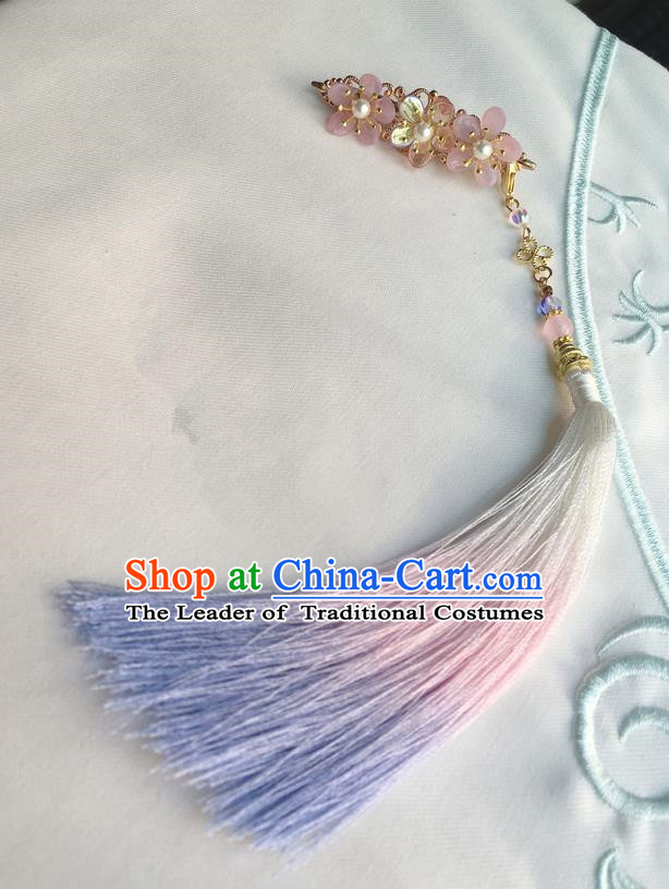 Asian Chinese Traditional Headdress Blue Tassel Hairpins, China Ancient Handmade Bride Flowers Hanfu Step Shake Hair Stick Headwear for Women