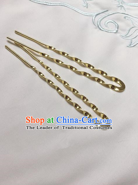 Asian Chinese Traditional Headdress Brass Hairpins, China Ancient Handmade Bride Hanfu Step Shake Hair Stick Headwear for Women