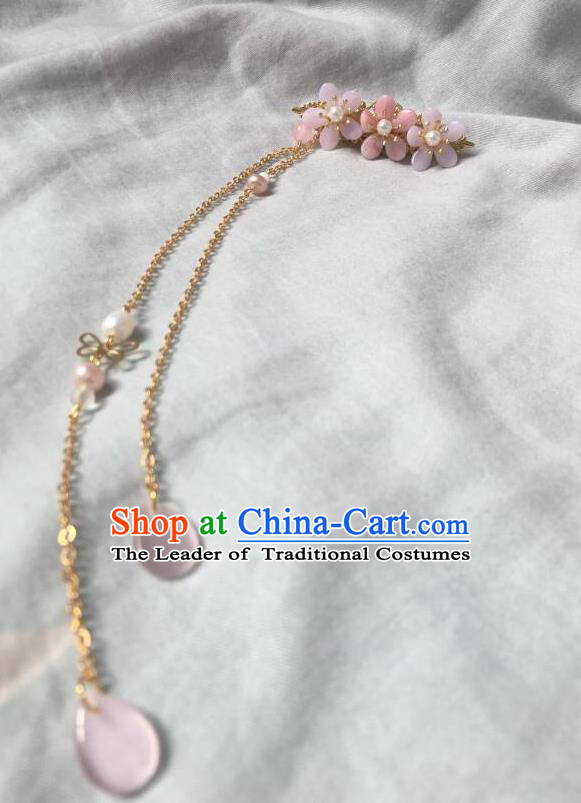 Asian Chinese Traditional Headdress Pink Tassel Hairpins, China Ancient Handmade Bride Hanfu Step Shake Hair Stick Headwear for Women