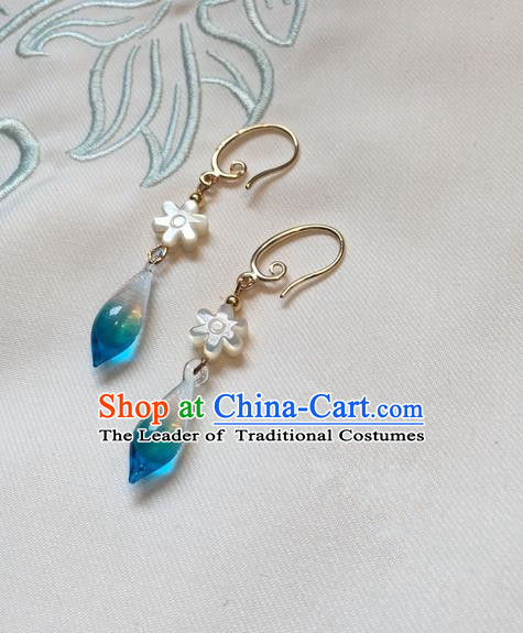Asian Chinese Traditional Headdress Blue Crystal Tassel Earrings, China Ancient Handmade Bride Hanfu Eardrop for Women