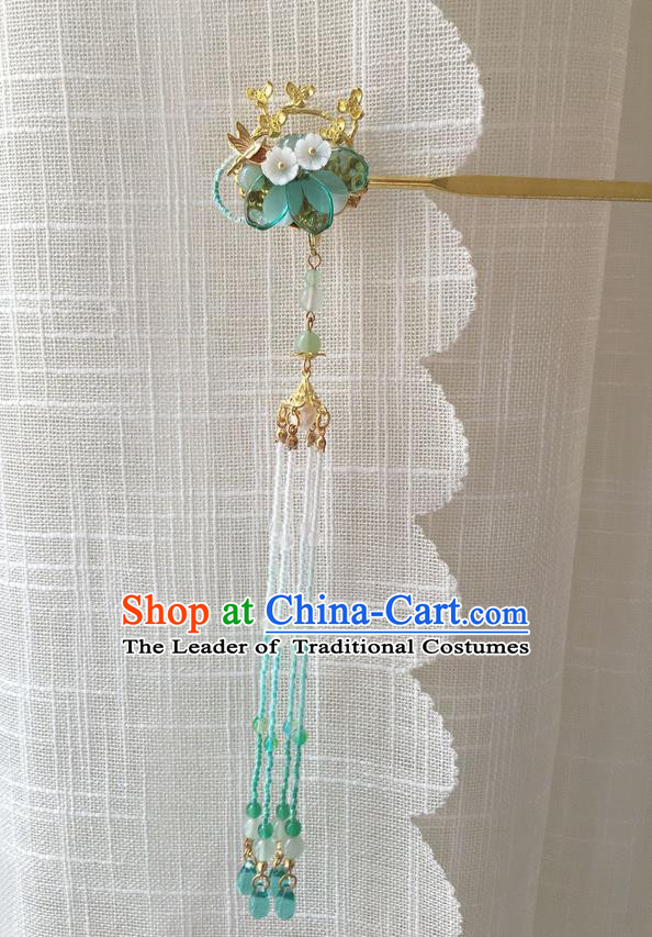 Asian Chinese Traditional Headdress Green Beads Tassel Hair Accessories Hairpins, China Ancient Handmade Bride Hanfu Step Shake Flowers Hair Stick Headwear for Women