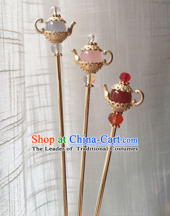 Asian Chinese Traditional Headdress Kettle Hair Accessories Hairpins, China Ancient Handmade Bride Hanfu Step Shake Headwear for Women