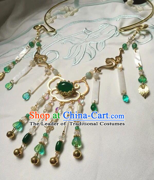 Asian Chinese Traditional Headdress Green Agate Tassel Necklace, China Ancient Handmade Bride Hanfu Collar Necklet for Women
