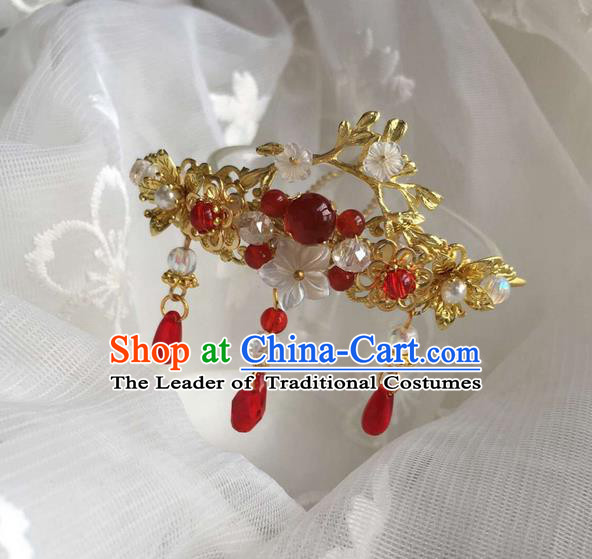 Asian Chinese Traditional Headdress Red Agate Hair Accessories Xiuhe Suit Hairpins, China Ancient Handmade Bride Hanfu Tassel Step Shake Headwear for Women