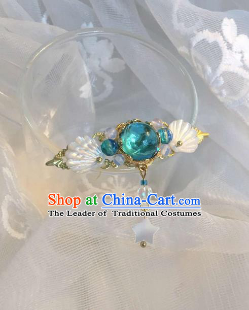 Asian Chinese Traditional Headdress Shell Hair Accessories Xiuhe Suit Hairpins, China Ancient Handmade Bride Hanfu Green Crystal Step Shake Headwear for Women