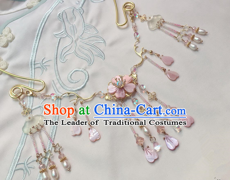 Asian Chinese Traditional Headdress Pink Shell Tassel Necklace, China Ancient Handmade Bride Hanfu Collar Necklet for Women